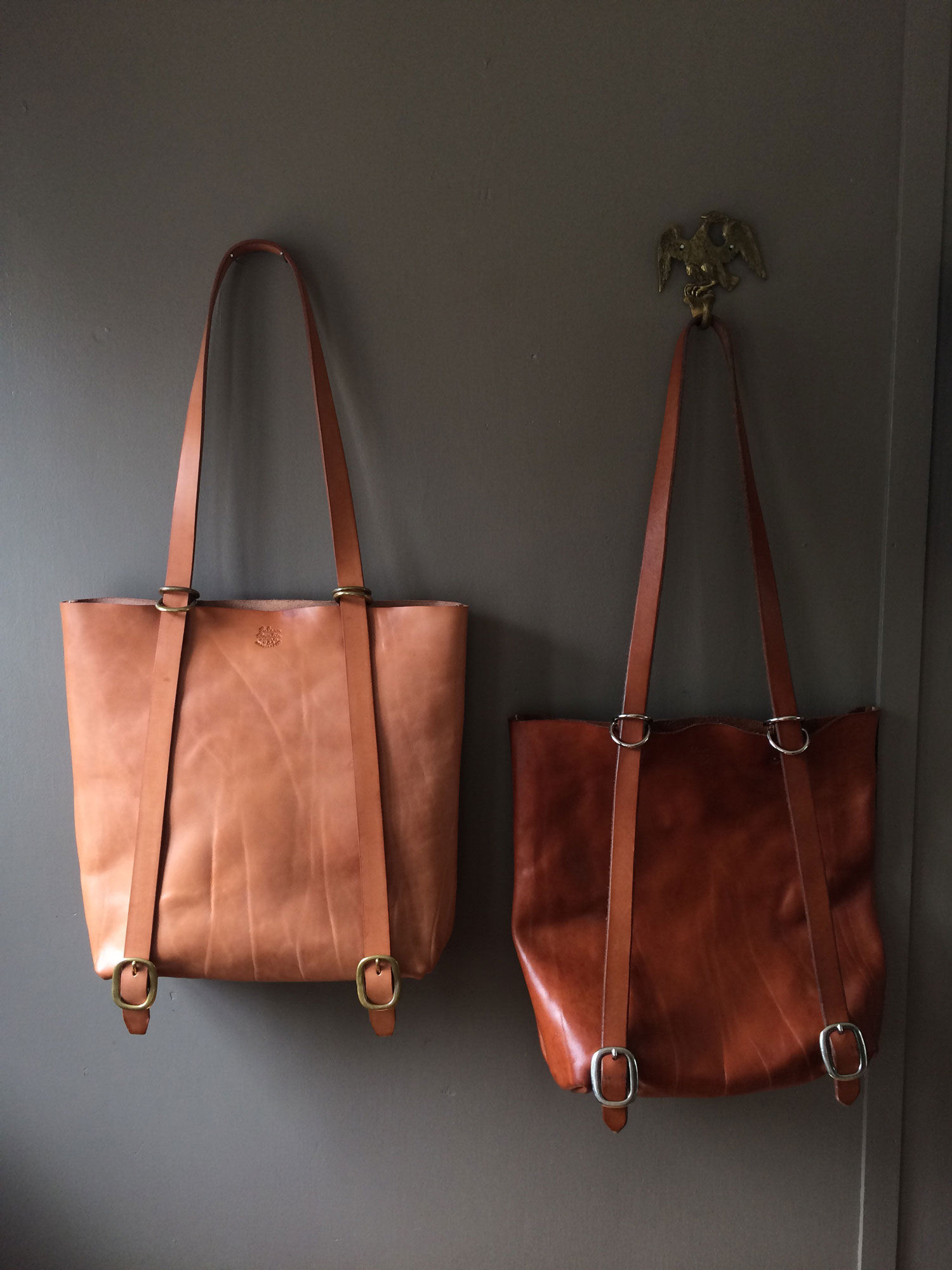 Leather Natural Tan Ruck Tote, new and aged
